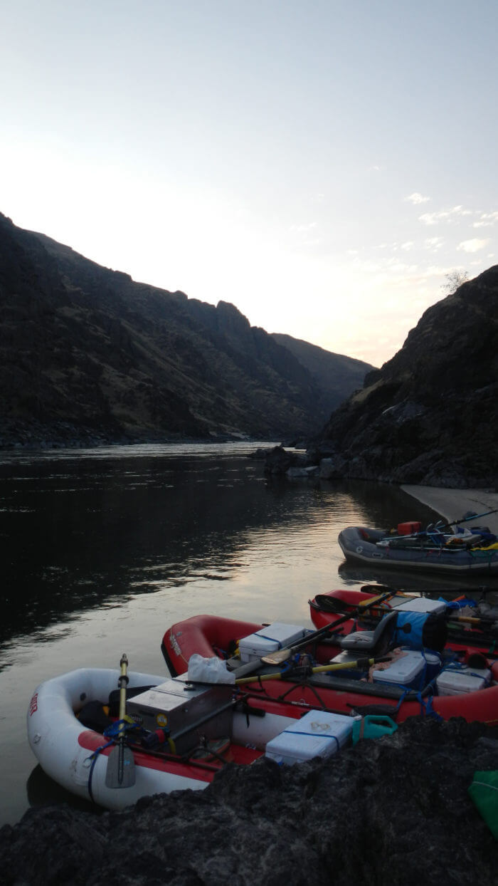 Gear boats beached on Clark Fork Overnight trip.