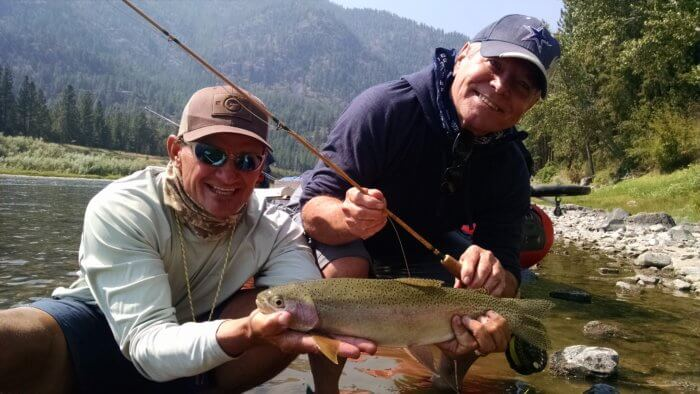 Bamboo fly rod rainbow, Clark Fork River