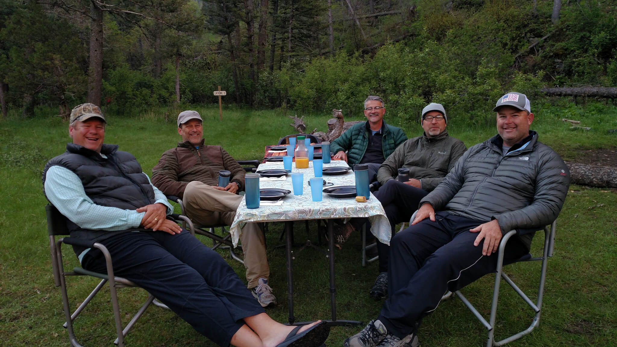 Breakfast on group overnight fly fishing trip Montana