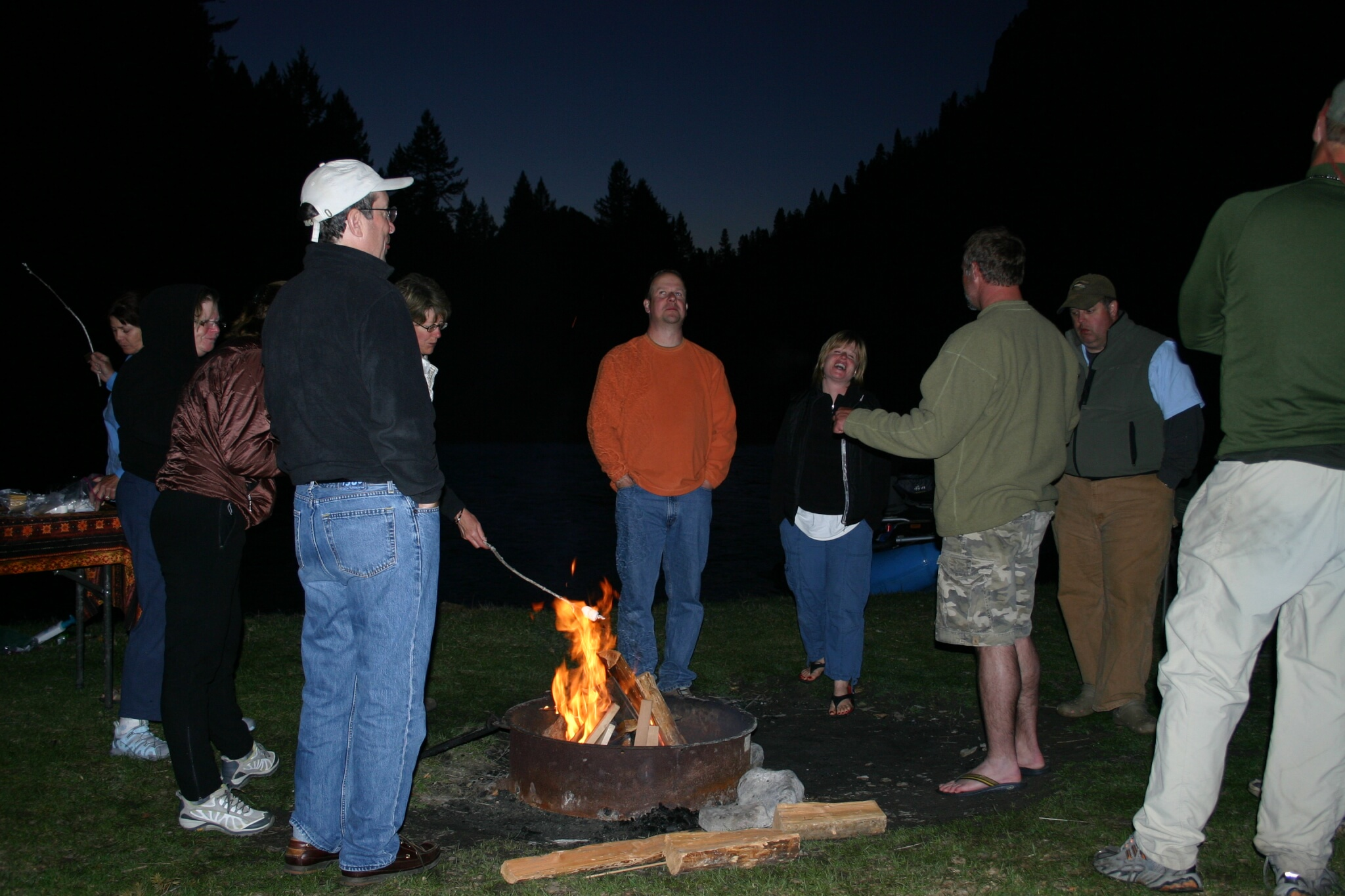 Group trip fireside fun - fly fishing Missoula Montana